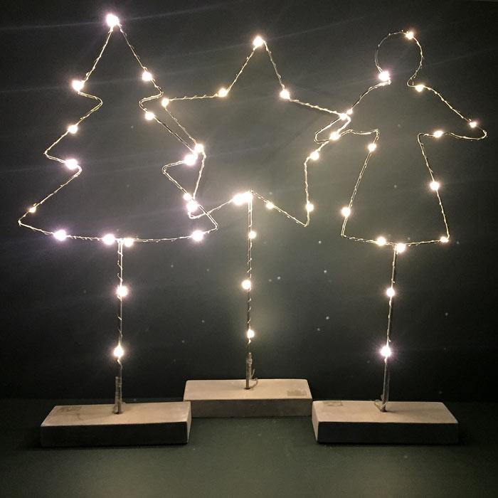 LED Christmas Figures - Angel. Star and Tree