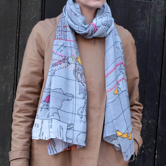 World map scarf sourcelifestyle world map scarf by one hundred stars buy online uk gumiabroncs Choice Image