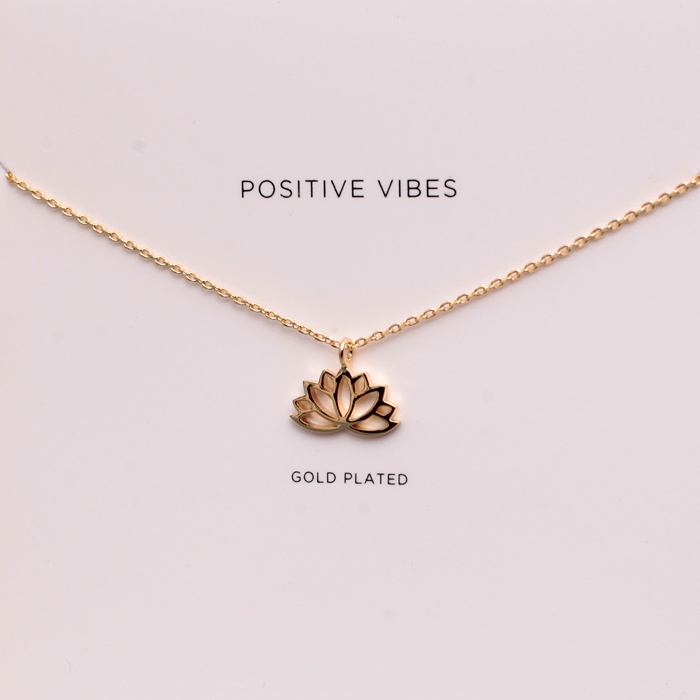 Estella Bartlett Gold-Plated Positive Vibes Lotus Necklace KWqY4vFys