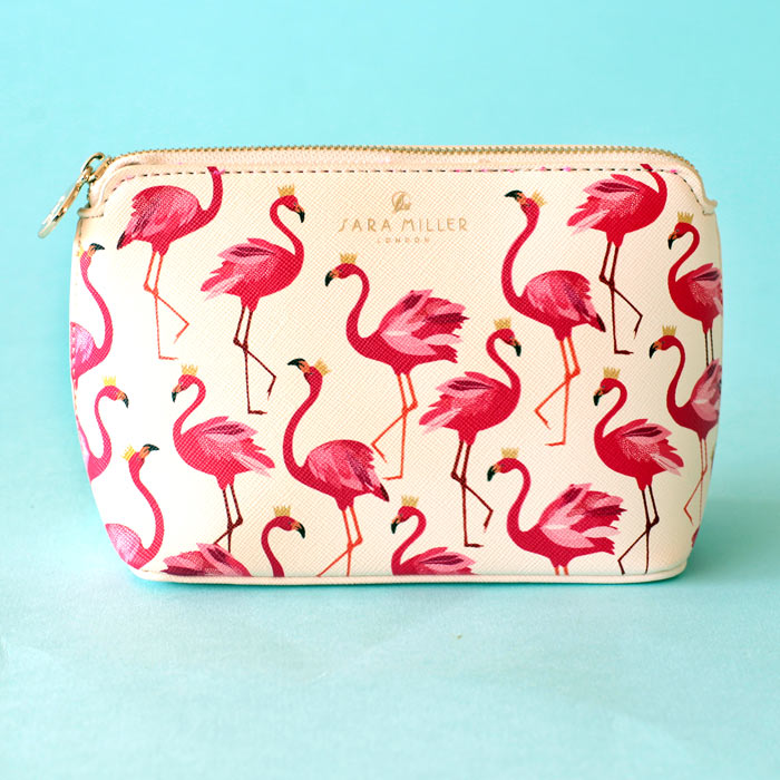 Pink Flamingo Makeup Bag by Sara Miller - Free Shipping