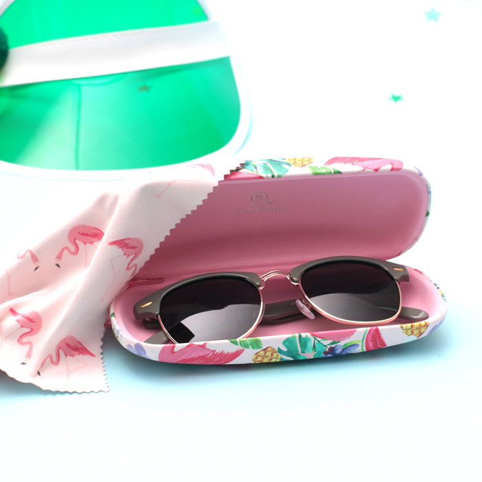 Flamingo Sunglasses Case with microfiber cloth