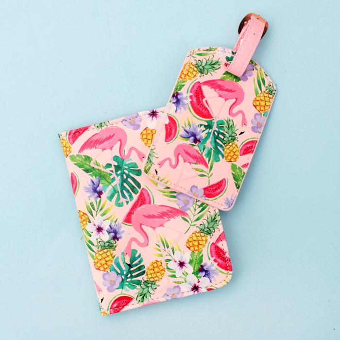 Flamingo Passport Holder and Luggage Tag