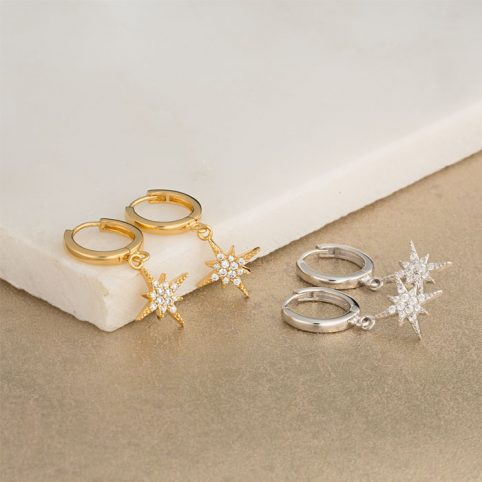 Star Hoop Earrings Pretty Scream in Gold or Silver