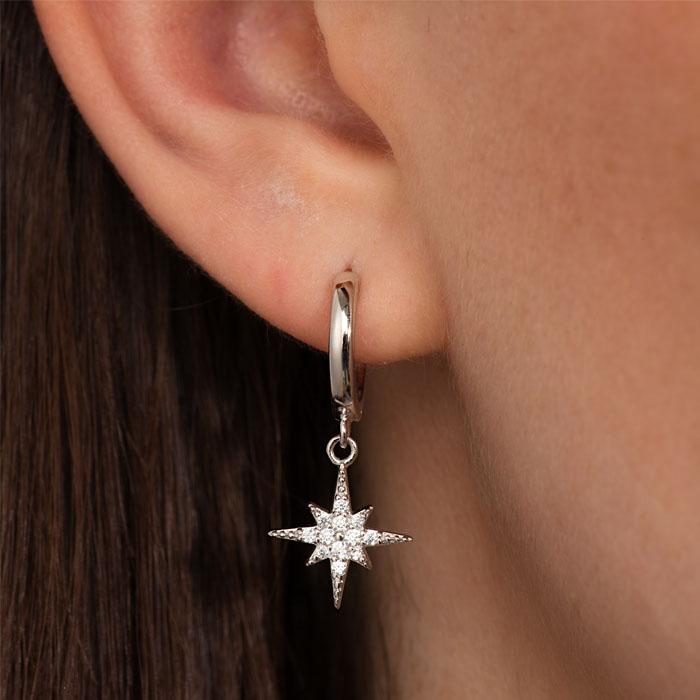 Silver Star Hoop Earrings Free UK Delivery
