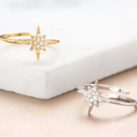 Starburst Ring - Star Ring in Gold or Silver