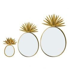 Set of 3 Pineapple Mirrors - Free P&P