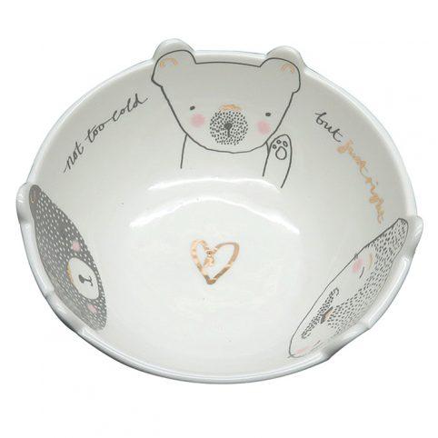 Cute Ceramic Bowl With A Bear Family