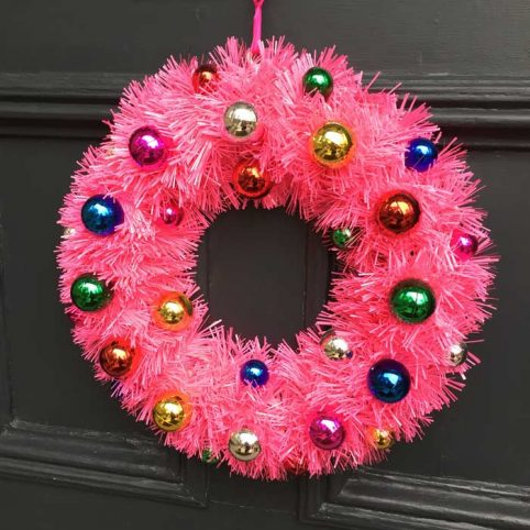 Pink Christmas Wreath from Acorn and Will - Free UK Delivery