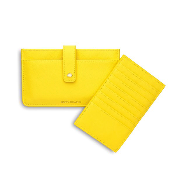 Happy Travels Yellow Travel Wallet