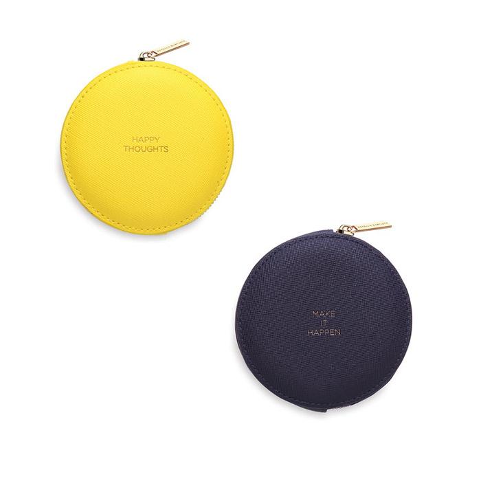 Estella Bartlett Round Coin Purse in yellow and navy