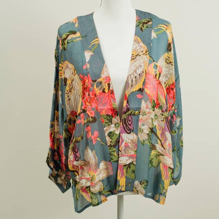 Flowers and Parrots Grey Kimono