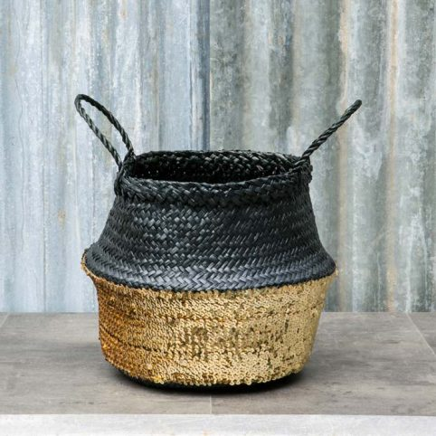 Gold Sequin Basket - Free UK Delivery