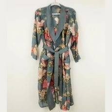 Grey Floral Dressing Gown - Free UK Delviery