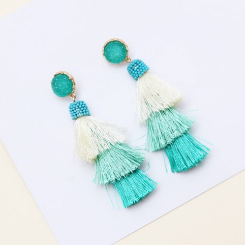Green Tassel Earrings - £21.50 Buy Online UK