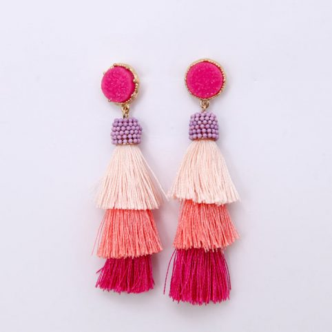 Pink Tassel Earrings - Buy Online UK