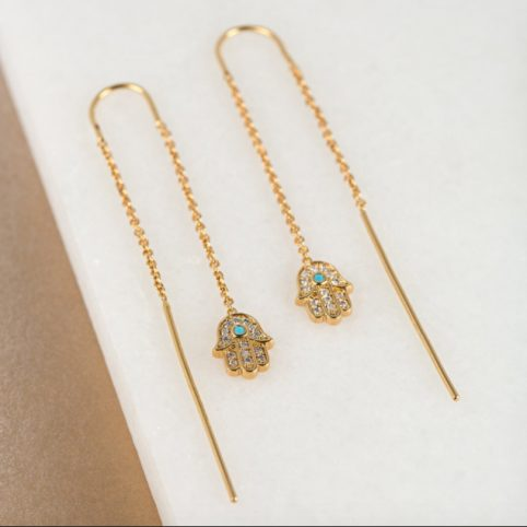 Gold Fatima Threaded Earrings - Buy Online UK