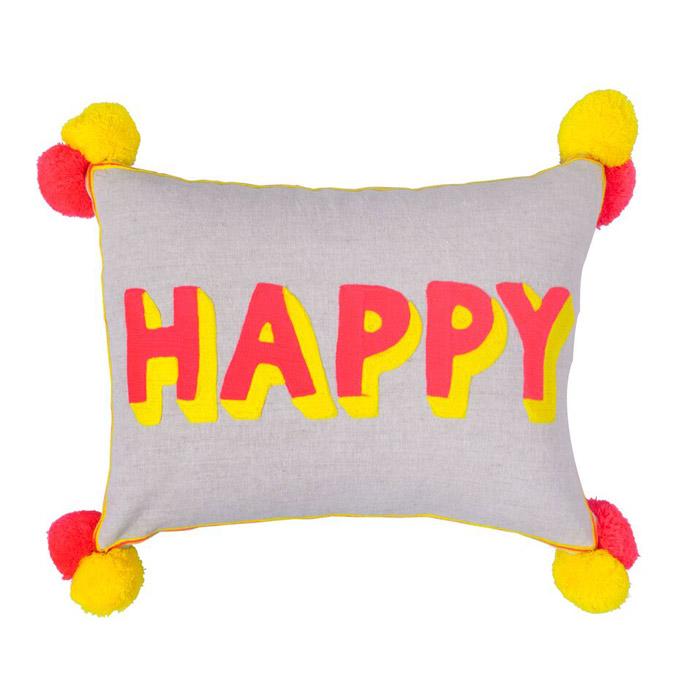Happy Embroidered Pom Pom Cushion