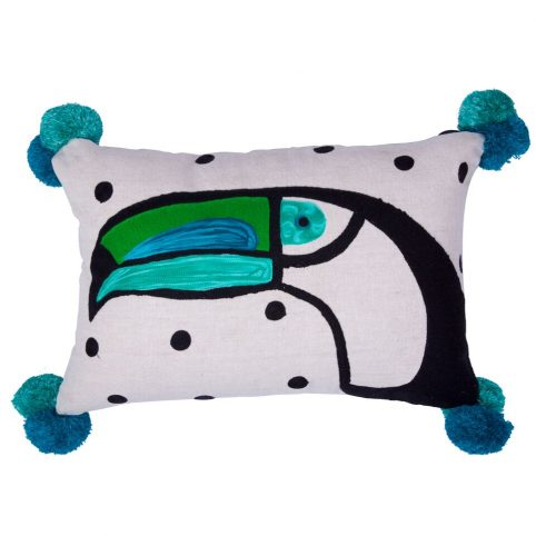 Toucan Pom Pom Cushion - Buy Online UK