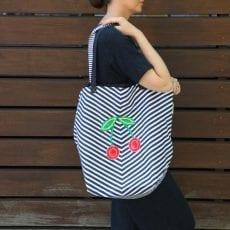 Navy Stripe Bag With Cherries - Buy Online UK