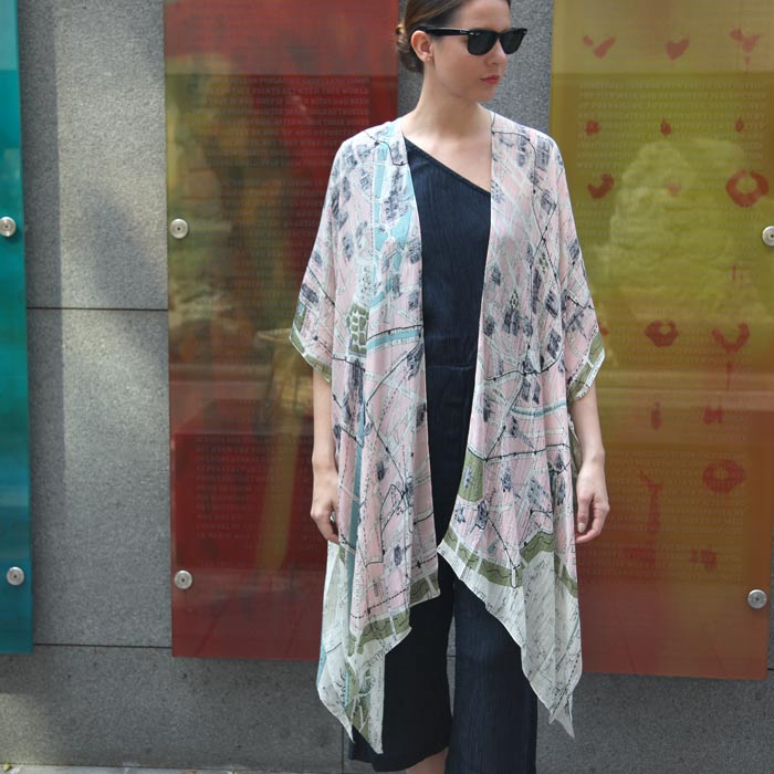 Paris Map Kimono
