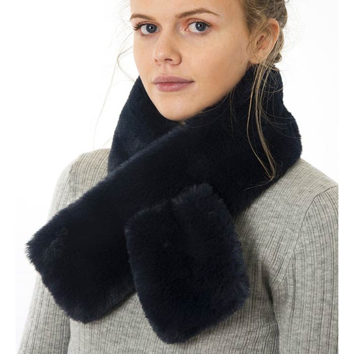 Navy Faux Fur Collar - Buy Online UK