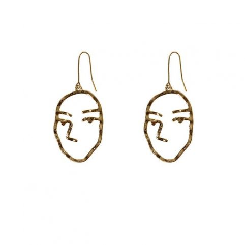 Abstract Face Brass Earrings - Free UK Delivery