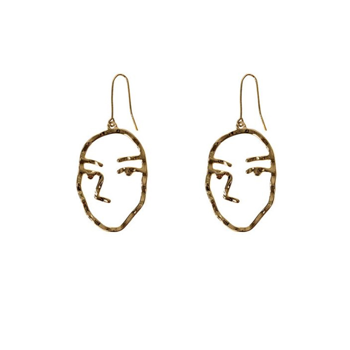 Abstract Face Brass Earrings Free UK Delivery