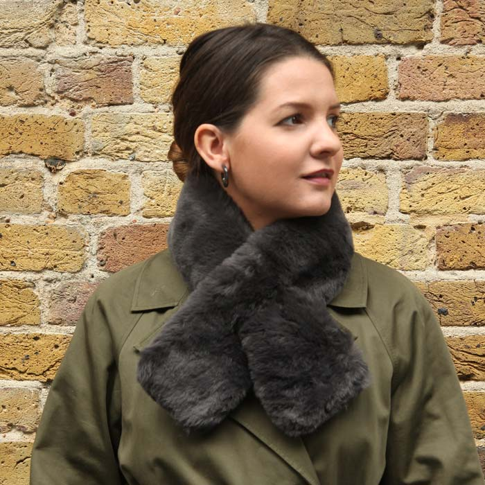 Dark Grey Faux Fur Collar - Buy Online UK