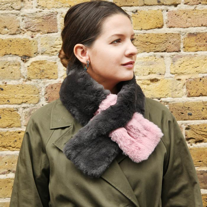 Grey/Pink Faux Fur Collar