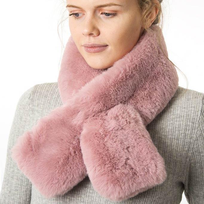 Dust Pink Faux Fur Scarf - Buy Online UK