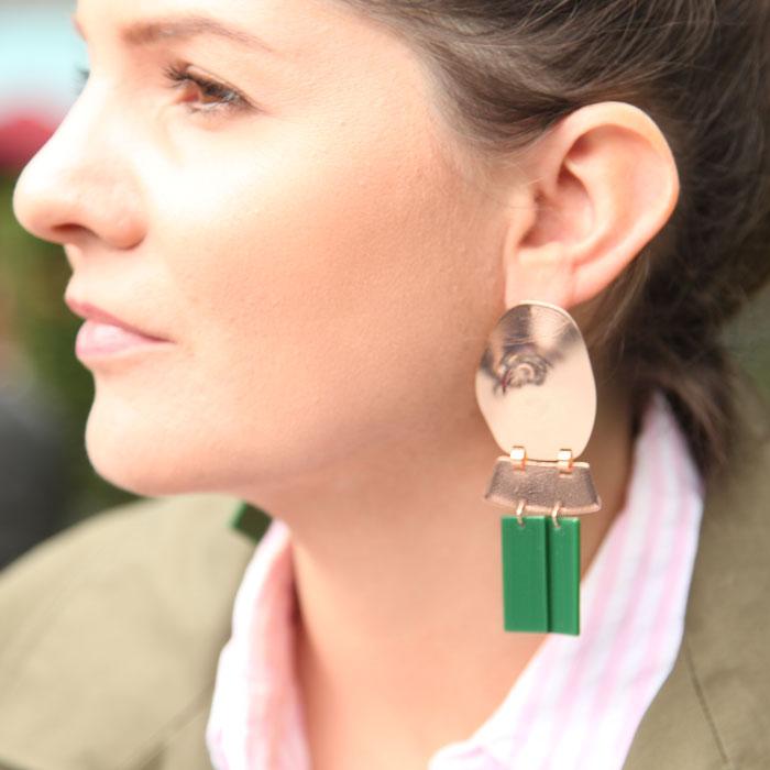 Green Resin Statement Earrings - Buy Online UK