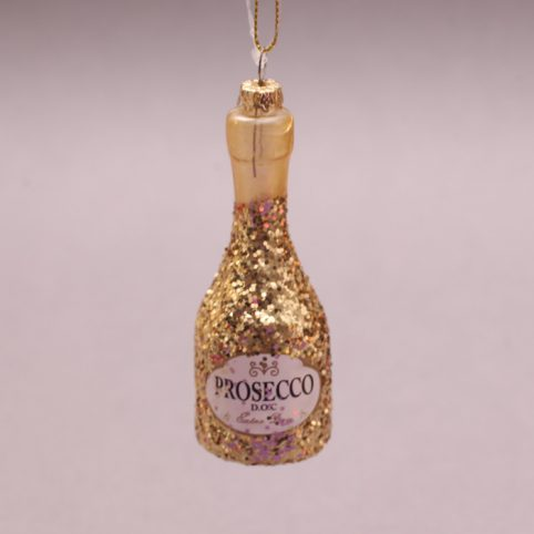 Gold Glitter Prosecco Christmas Bauble - Purchase Online UK