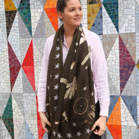 Feathers And Stars Print Scarf