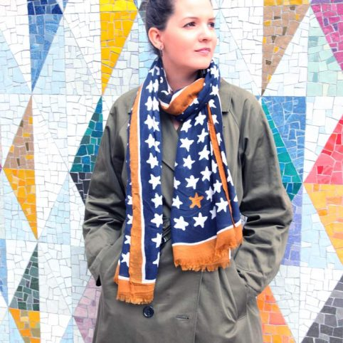 Navy and Mustard Stars Scarf - Buy Online UK