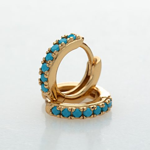 Gold Huggie Hoop Earrings with Turquoise Stones - Scream Pretty