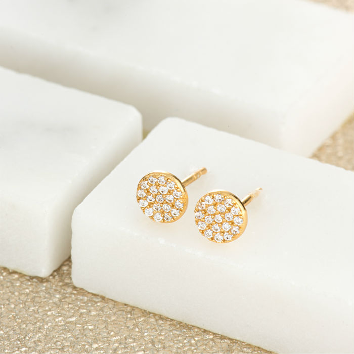 Gold Pave Circle Stud Earrings by Scream Pretty