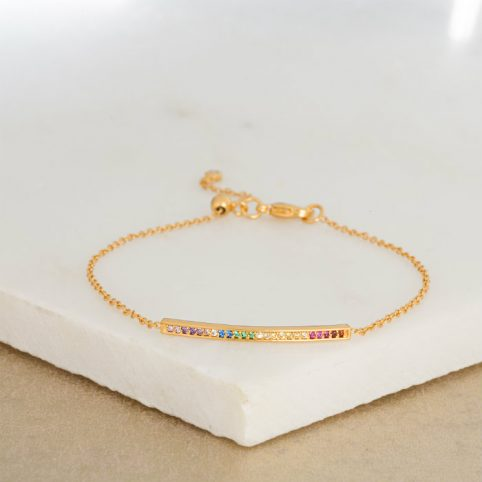 Gold Skinny Bar Bracelet with Rainbow Stones and Slider Clasp by Scream Pretty