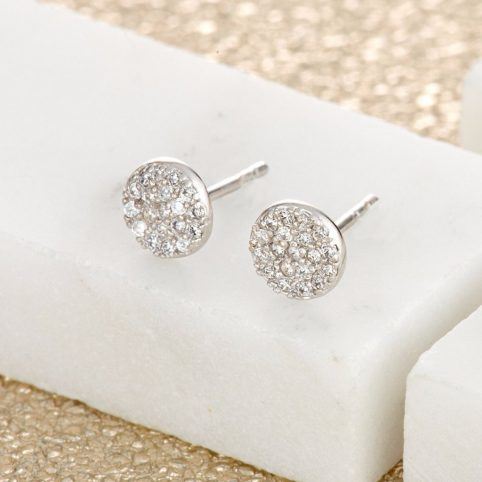 Silver Pave Circle Stud Earrings Scream Pretty