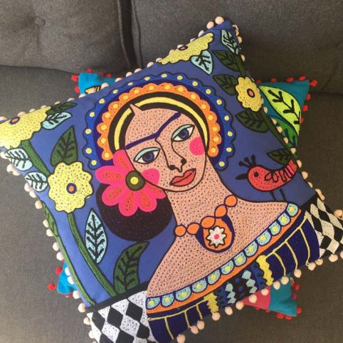 Frida Kahlo Cushion With A Bird - Buy Online UK