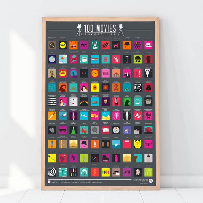 100 Movies Scratch Off Bucket List Poster - Buy Online UK