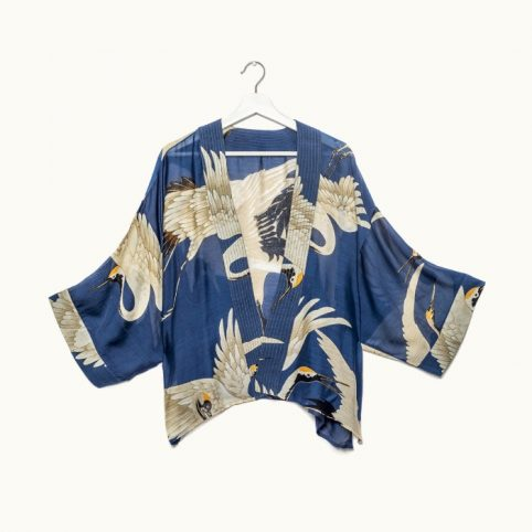 One Hundred Stars Stork Navy Kimono