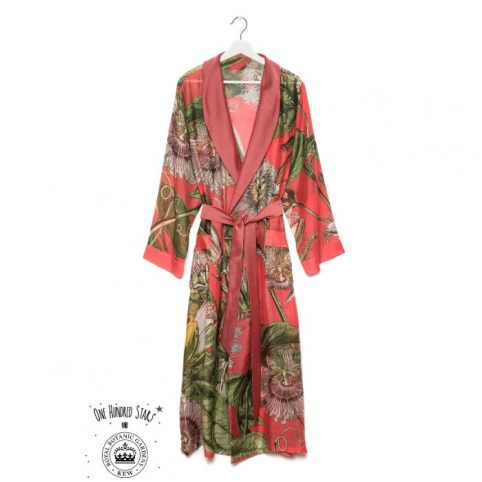 One Hundred Stars Kew Passion Flower Coral Dressing Gown