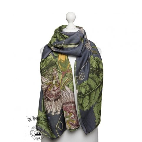 One Hundred Stars Kew Passion Flower Grey Scarf