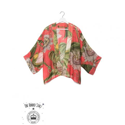 One Hundred Stars Kew Passion Flower Coral Kimono
