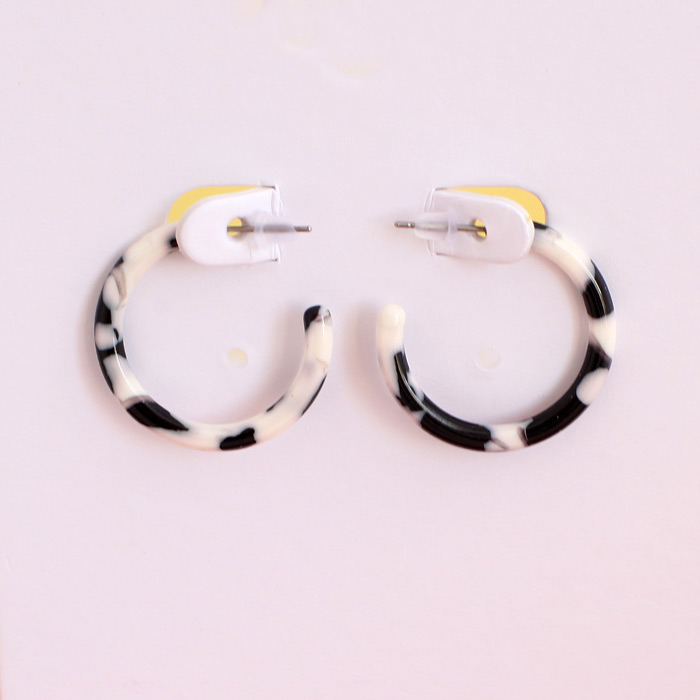 Black and White Small Resin Hoops - Buy Online UK