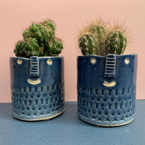 Dark Blue Mini Face Cactus Pot - Buy Online UK