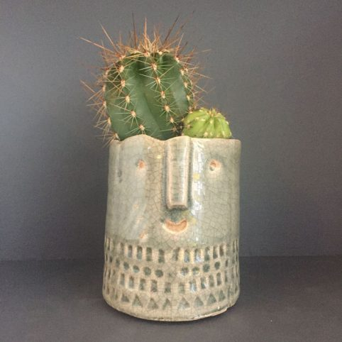 Sage Green Cactus Face Plant Pot