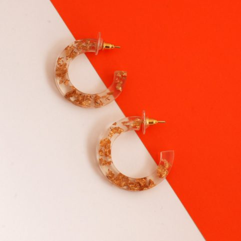 Statement Hoop Earrings Gold and C Through Acrylic