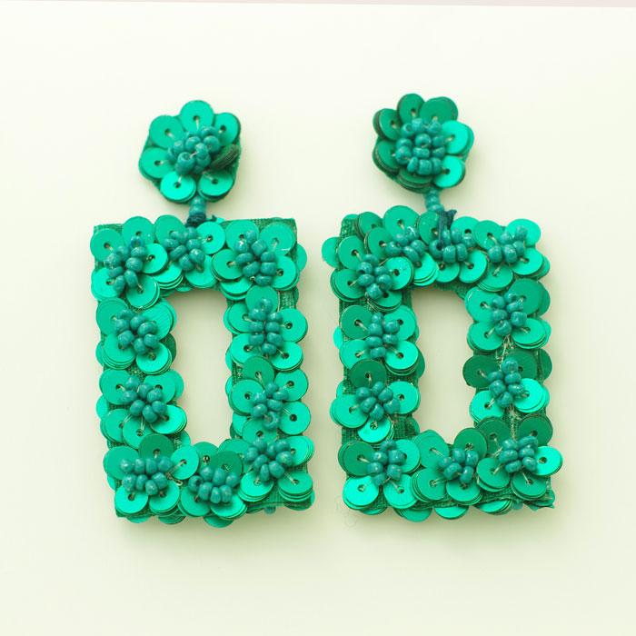 green sequin earrings