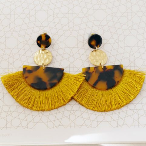 Tassel and Resin Fan Drop Earrings